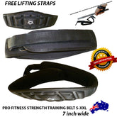 "BODY BUILDING STRENGTH Training 7"" Weight Lifting Belt Gym Lumbar BACK SUPPORT"