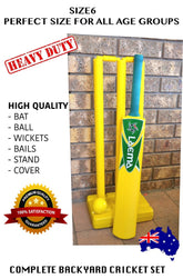 2X COMPLETE BEACH CRICKET SET BACKYARD PLAY BATSMAN - BAT BALL BAILS STAND SIZE6