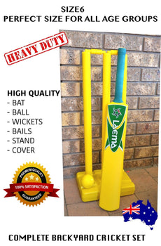 COMPLETE BEACH CRICKET SET BACKYARD PLAY BATSMAN - BAT BALL BAILS STAND SIZE 6