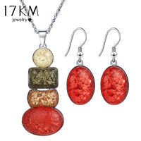 17KM New Jewelry Sets Necklace and Earring Set sieraden Sets parure bijoux femme African Necklace Jewellery Set
