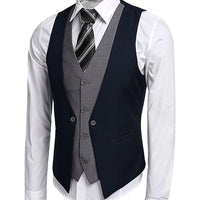 COOFANDY US size Men's Waistcoat Causal Slim Sleeveless Formal Coat Business Suit Vest Wine Red/Black/Blue US size S-XXL