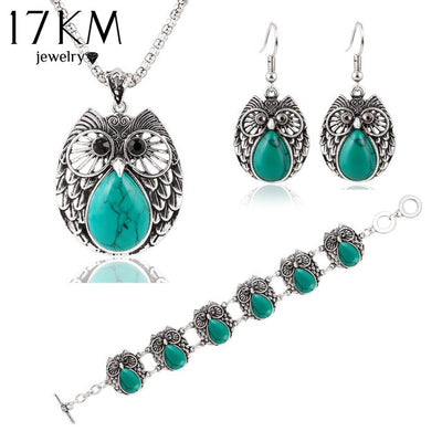 17KM Summer Style Jewelry Sets Vintage Green & Red Stone Pendant Necklace Owl Drop Earrings Charm Bracelet  For women