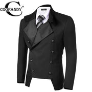 COOFANDY Suits & Blazer Outwear  Stand Neck  Business Double Breasted Button Suit Jacket Blazers Coats Suit Jackets Slim Fit