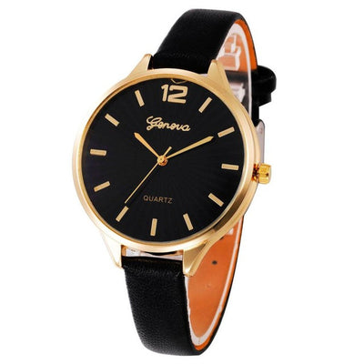 Genvivia Women Watch montre sport femme Casual Quartz Checkers Faux Leather Analog Wrist relogios de pulso feminino Waterproof