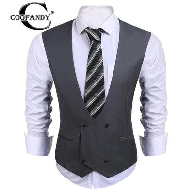 COOFANDY 2017 Newest Male Clothes  V-Neck Sleeveless Double-breasted Solid Slim Fit Business Suit Vest