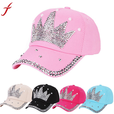 New Fashion Unisex Baseball Cap Rhinestone Crown Shaped Boy Girls Snapback Hat Casquette hat Sports Outdoors Cap
