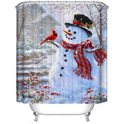 Merry Christmas Fabric Waterproof Bathroom Shower Curtain