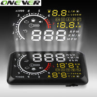 Onever 5.5'' 4C OBDII Car HUD OBD2 Port Head Up Display Speed Warning System Windshield Projector Alarm