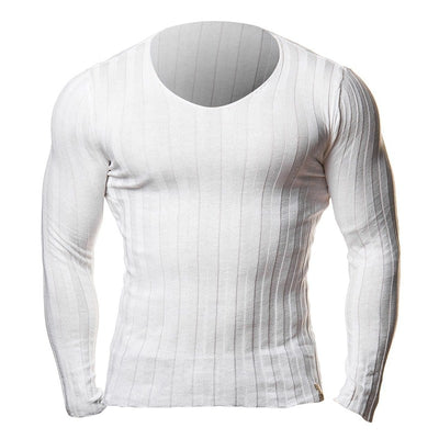 Knitted Tshirt Men Slim Fit Sweater V Neck Plus Size 3XL 2018