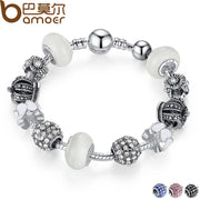 BAMOER Silver Charm Bracelet & Bangle with Royal Crown Charm and Crystal Ball White Beads for Women Drop Shipping PA1456