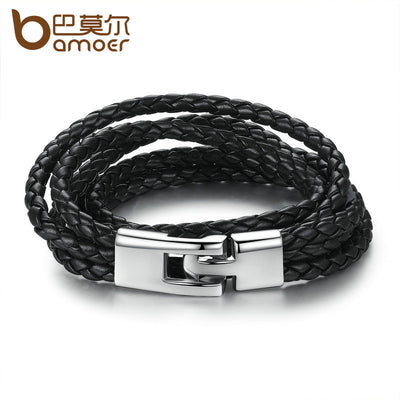 BAMOER Fashion Leather Bracelet Wide Retro Black & Brown Color Chain Bracelets for Men & Women Jewelry pulseras PI0288