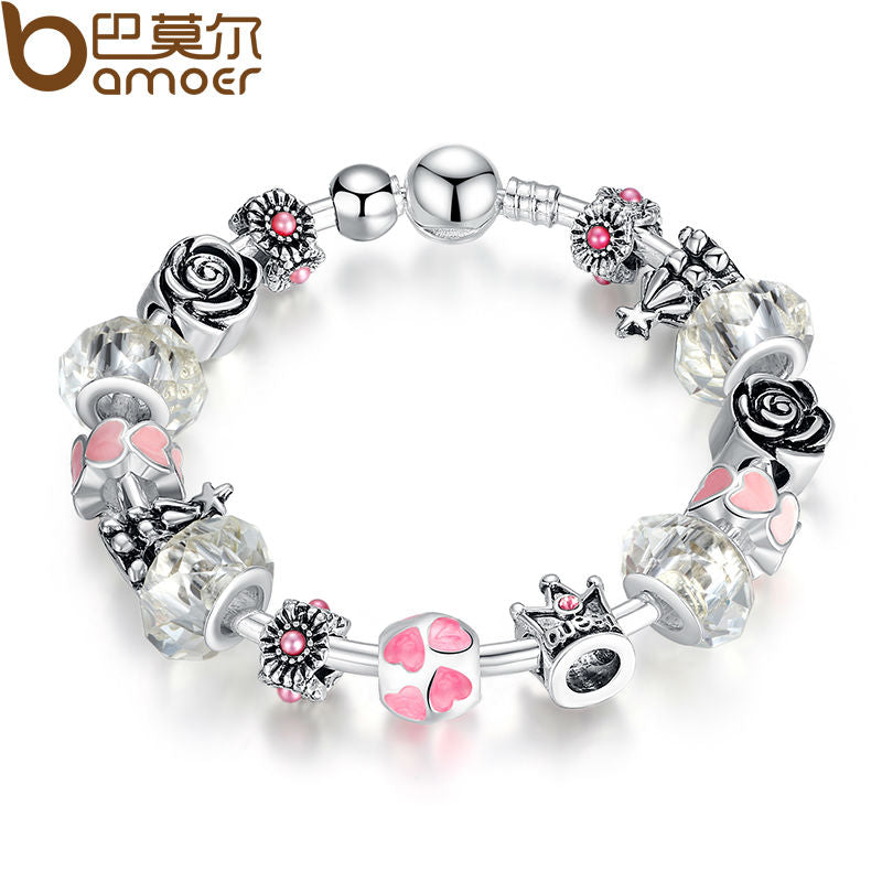 New Silver Color Charms Pendants Bracelet & Bangle with Heart Crown Rose Murano Beads & Charms Christmas Bracelet  PA3072