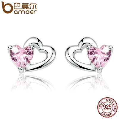 BAMOER Genuine 925 Sterling Silver Double Heart to Heart Pink CZ Stud Earrings for Women Brincos Fine Jewelry Bijoux SCE090