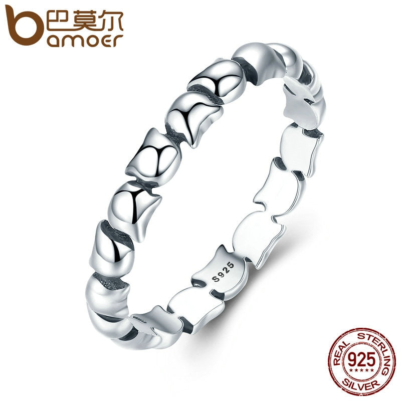 BAMOER Original Design 925 Sterling Silver Cute Cat Stackable Finger Ring For Women Wedding Animal S925 Silver Jewelry SCR047