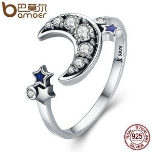 BAMOER 925 Sterling Silver Crescent Moon & Star Dazzling CZ Open Finger Ring for Women Wedding Engagement Jewelry Gift SCR116
