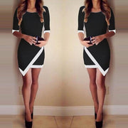 Sexy Women Summer Bandage Bodycon Evening Party Irregular Mini Dress BK/S