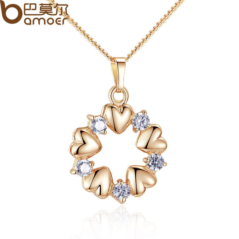 BAMOER Luxury  Gold Color Heart Necklaces & Pendants with AAA Zircon For Women Anniversary Jewelry JIN018