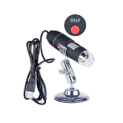 Portable USB Digital Microscope 40X-1000X Electron Microscope with 8 LED light & Silver Bracket