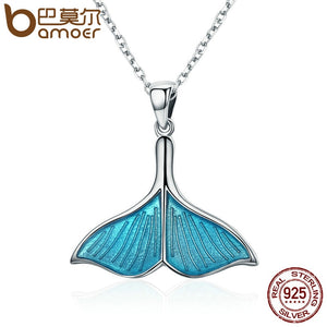 BAMOER 925 Sterling Silver Ocean Sea Blue Enamel Fish Whale's Tail Mermaid Pendant Necklaces Women Silver Jewelry Brincos SCN096