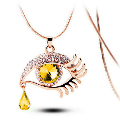 Fashion Magic Eye Crystal Tear Drop Long Sweater Chain Necklace