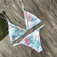 Sexy Printed and Padded Beach Halter Bikini Swimwear Set