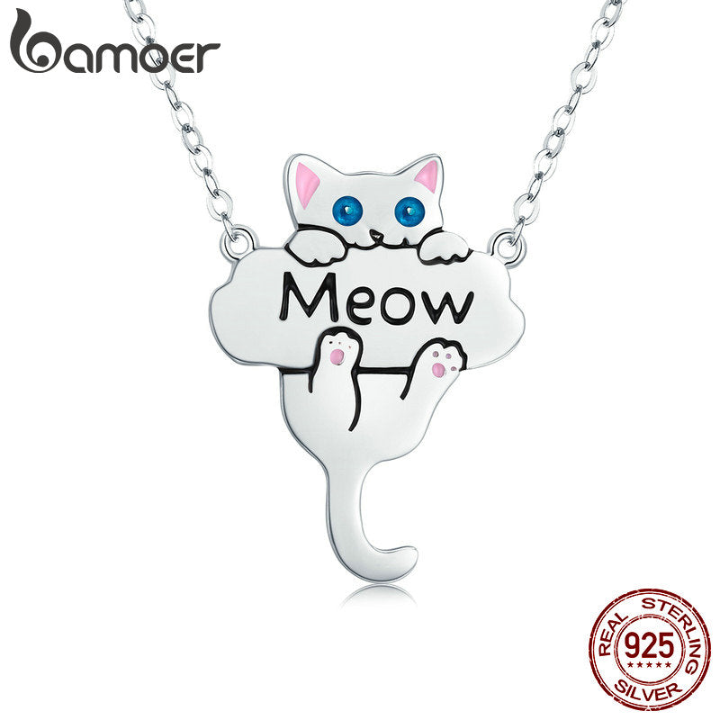 BAMOER 100% Genuine 925 Sterling Silver Animal Cute Cat Pussy Dangle Pendant Necklaces for Women Fashion Jewelry Gift SCN210
