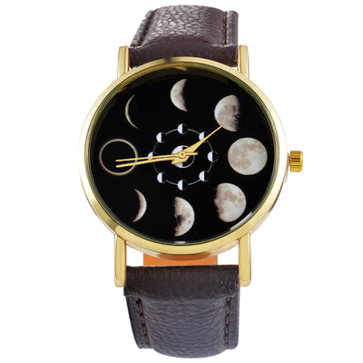 Doreen Box PU Leather Quartz Wrist Watches Round Eclipse Lunar Eclipse Pattern Black Battery Included 24cm(9 4/8