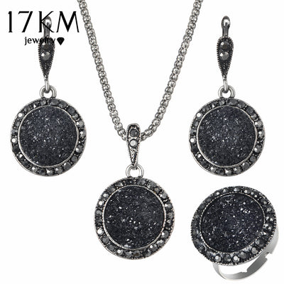 17KM Vintage Crystal Jewelry Set For Women Bijoux Round Charm Pendant Necklaces Drop Earrings Fashion Party Jewelry New Arrival