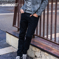 SIMWOOD 2018 Autumn New Dark Wash Black Jeans Men Slim Fit Casual Denim Trousers Male High Quality Plus Size 180156
