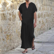 INCERUN Arab Style S-5XL Robe Dress Men Short Sleeve 100%Cotton V-Neck Full Length Shirts Lounge Male Gown Vacation Plus Size