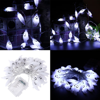 YUNLIGHTS 4.5M 40 LED Halloween Ghost String Lights Battery-powered Decoration Lights with Remote Control for Indoor/Outdoor