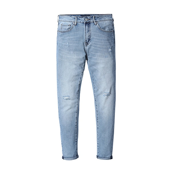 SIMWOOD Brand Slim Jeans For Men Skinny Slim Hole Washed Denim Pencil Pants Stretch Waist Jeans Trousers Free shipping 180132