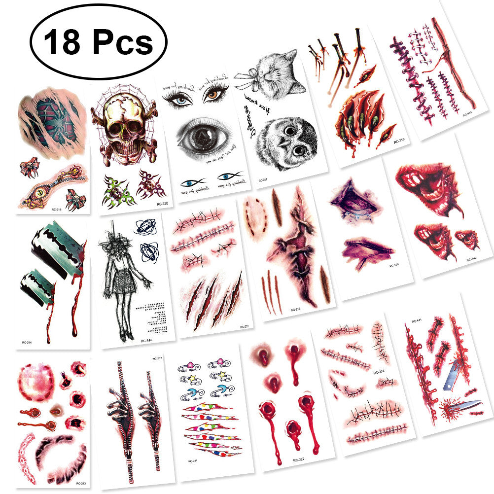 18 PCS Halloween Temporary Tattoo Stickers Fake Horror Scar Tattoo Stickers for Halloween Costume Party, Vampire Zombies Cosplay