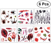 6Pcs Halloween Horror Temporary Tattoos Waterproof Body Scab Scary Stickers