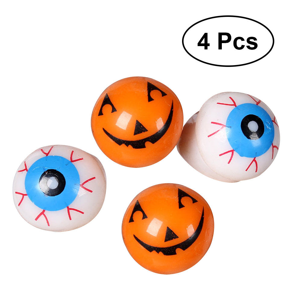 4 PCS Halloween Soft Flashing Eyeball Ring Halloween Props Decoration Children Rings Toys