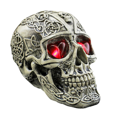 Resin Human Skull Replica Skeleton Model Funny Halloween Costumes Hounted House Scary Creepy Prop Masquerade Decoration Ornaments with LED Lights