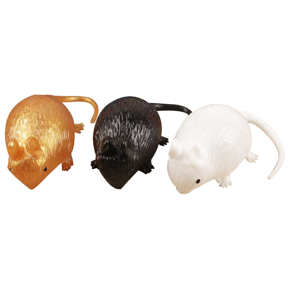 3Pcs Artificial Fake Mouse Practical Jokes Props Realistic Plastic Mice for Prank Halloween Party