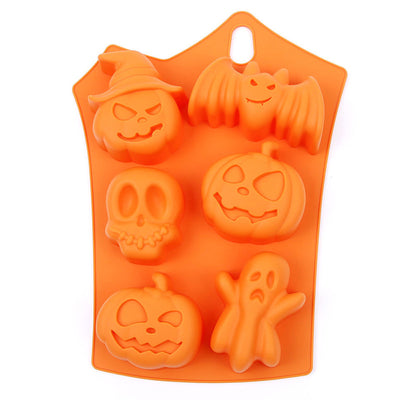 Halloween Holiday Pumpkin Cake Mold 6 Cavities Pumpkin Ghost Bat Shape