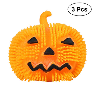 3 PCS Decompression Toys Pumpkin Halloween Squeeze Cute Stress Relief Soft Balls