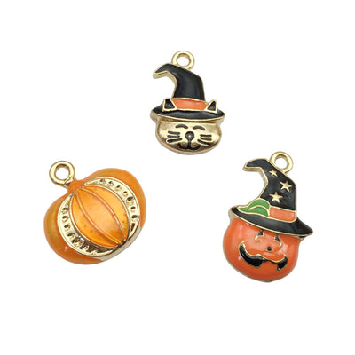 3pcs Halloween Pumpkin Cat Pendant Bracelet Necklace Charm Alloy Pendant DIY Jewelry Accessory