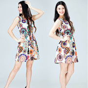 1PC Women Summer Sleeveless Sunflower Print Lady Casual Beach Mini Dress