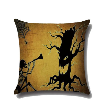 2018 New 1Pcs 45*45cm Halloween Funny Party Witch Demon Print Cotton Linen Cover Plush Pillow Back Throw House Pillowcover