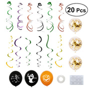 20Pcs Halloween Trick or Treaty Party Decor Dangling Swirls Spiral Hanging Pendants Ballons Set