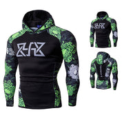 Mens Fitness Long Sleeves Bodybuilding Skin Tops Hoodie Sweatshirts Blouse