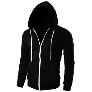 Casual Slim Fit Long Sleeve Zipper Hoodie With Pockets