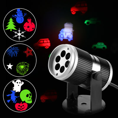 UK Plug LED Projector Light RGB Wall Lamp Image Projection Lights with 4 Gobo Slides for Xmas Birthday New Year Halloween Party Holiday Indoor Use