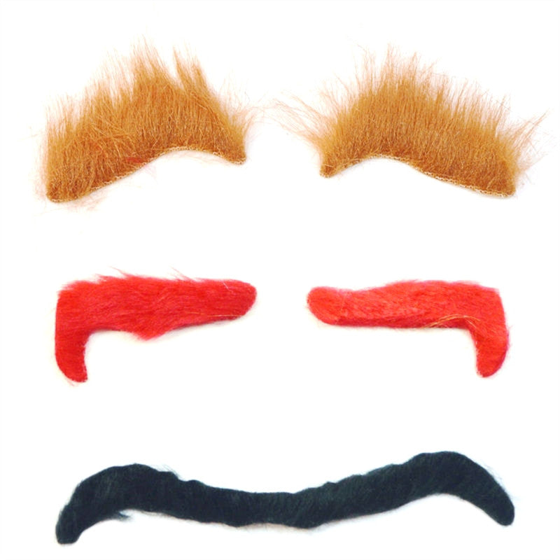 3PCS Halloween Simulation Eyebrow Masquerade Costume Ball Cosplay Party Funny Props Ghost Eyebrows Accessory