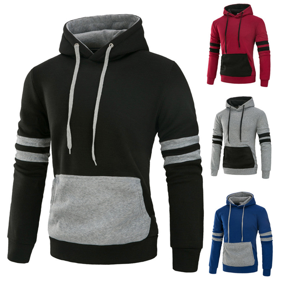 Men's Long Sleeve Autumn Winter Casual Sweatshirt Hoodies Splicing Pocket