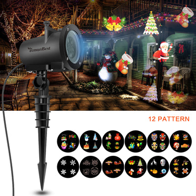 EU Plug 8W LED Projector Light White Lawn Light Landscape Light with 12pcs Colorful Gobo Slides & Base & Spike for Xmas Birthday New Year Halloween Thanksgiving Party Holiday