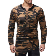 Elegant Sexy Men's T Shirts Autumn Long Sleeve Shirts Lace Up Camo T-Shirt Cotton Irregular Slim Fit Military Army Men Clothes